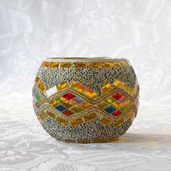 Photophore en verre, jaune et mosaïque multicolore