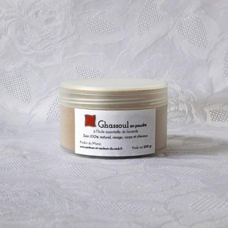 Poudre de ghassoul (rhassoul), à l'huile essentielle de lavande, soin visage et corps 200g