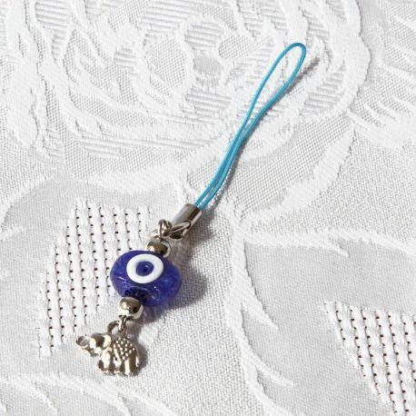 Oeil Turc à suspendre, avec miniature éléphant pour porte-clés ou smartphone