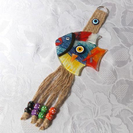 Création en forme de poisson, pâte de verre avec Oeil Turc, modèle N°2