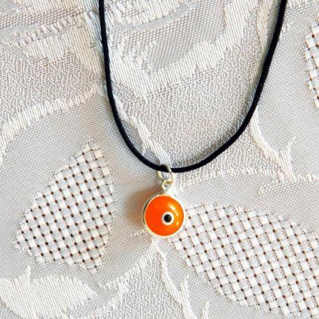 Pendentif oeil Turc rouge 1 cm avec cordon noir