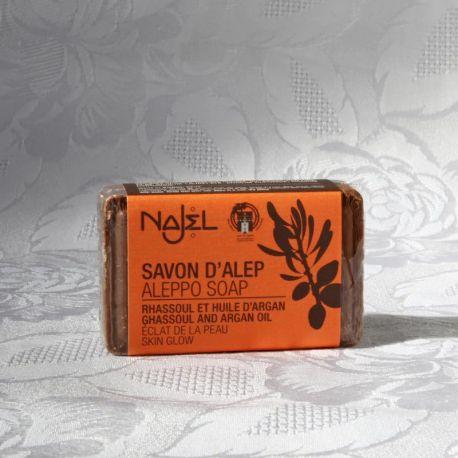 Savon d'Alep Rhassoul et huile d'Argan, emballé sous film, 100g