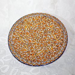 """Plat en céramique de Fès, série """"Tradition"""" ocre"""