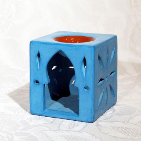 Photophore tadelakt bleu, diffuseur parfum et huile essentielle