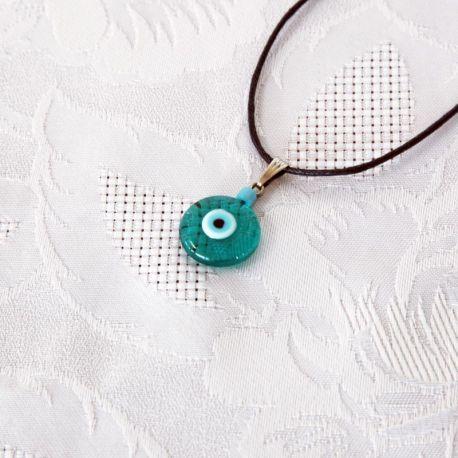Oeil Turc bleu vert, pendentif avec cordon - perle bleue