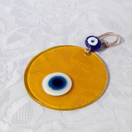 Oeil Turc sur plaque de verre, jaune