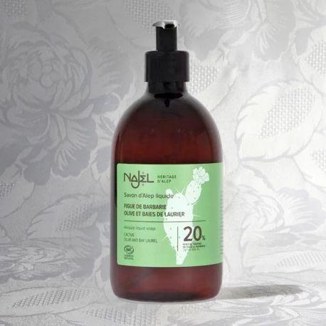 Savon d'Alep liquide, 20% huile de graines de figue de barbarie, 500ml