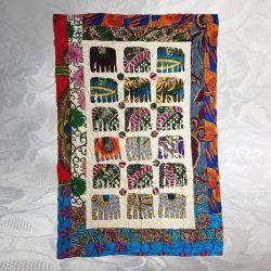 Tissu indien patchwork éléphant 1,50 x 2,15m