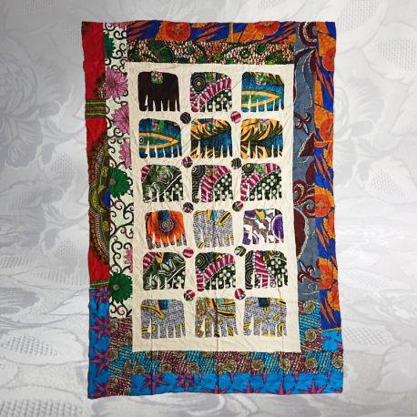 Tissu indien patchwork motif éléphant 01
