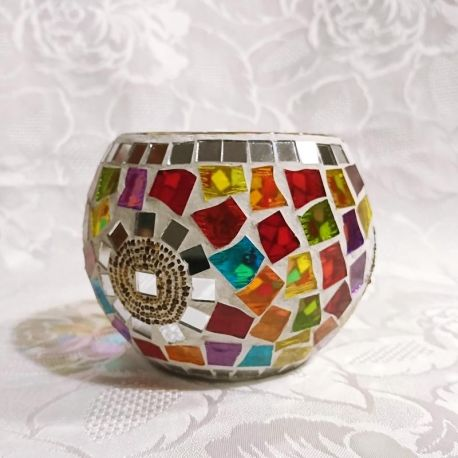 Photophore en verre, mosaïque multicolore et miroir