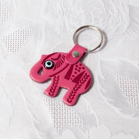 Porte-clés éléphant en cuir rose avec oeil Nazar Boncuk