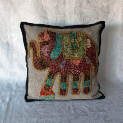 Housse de coussin gris bleu patchwork éléphant
