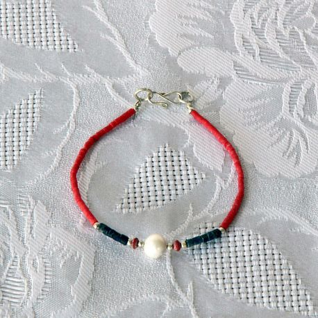Bracelet couleur corail perle nacrée