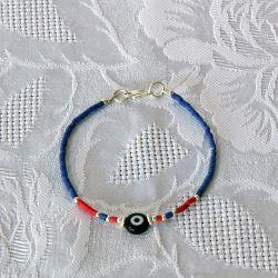 Bracelet fantaisie, perles bleues et corail, perle oeil