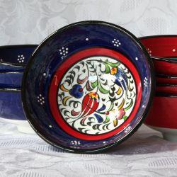 Bols bleus liseré rouge, faits main, motif traditionnel d'Iznik