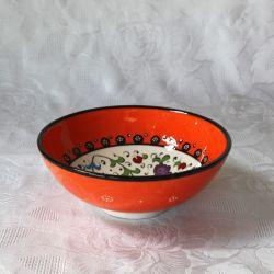 Bol orange fait main, motif traditionnel d'Iznik