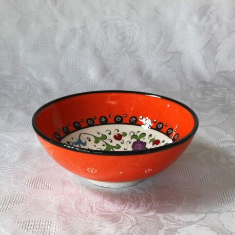 Bols orange faits main, motif traditionnel céramiques d'Iznik