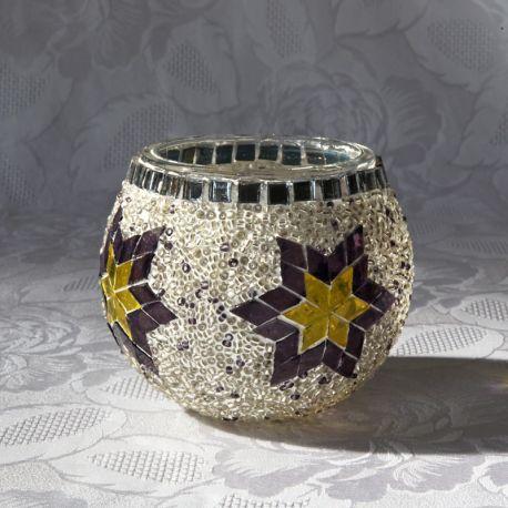 Photophore en verre, blanc, jaune, violet