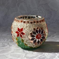 Photophore en verre, blanc, vert, rouge et violet