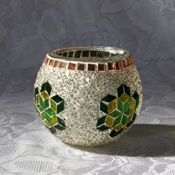 Photophore en verre, blanc, vert, jaune