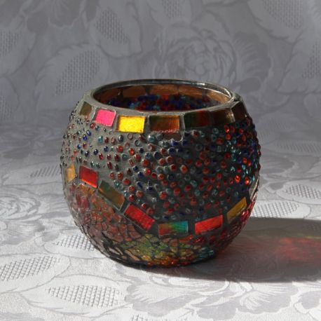Photophore anthracite en verre, motif multicolore