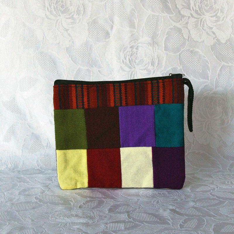 pochette en tissu avec bande de tissage traditionnel andin aguayo. Black Bedroom Furniture Sets. Home Design Ideas