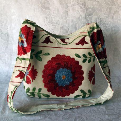 Sac besace tissu écru motif floral