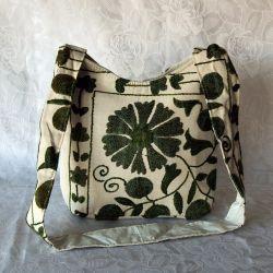 Sac besace tissu écru motif floral vert