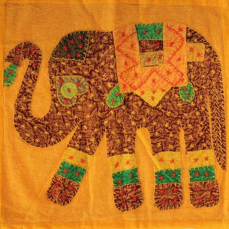 Housse de coussin en coton jaune avec patchwork l phant - Housse de coussin patchwork ...