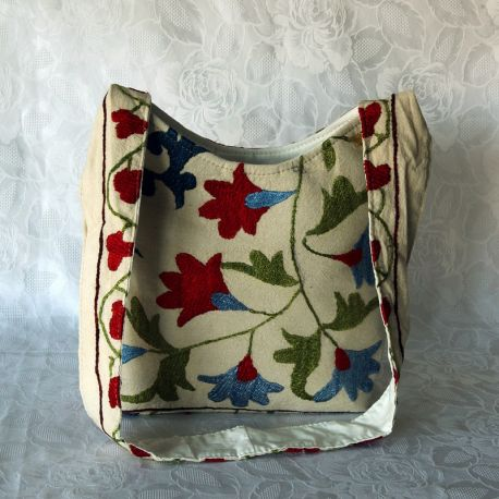 Sac besace tissu écru motif floral multicolore