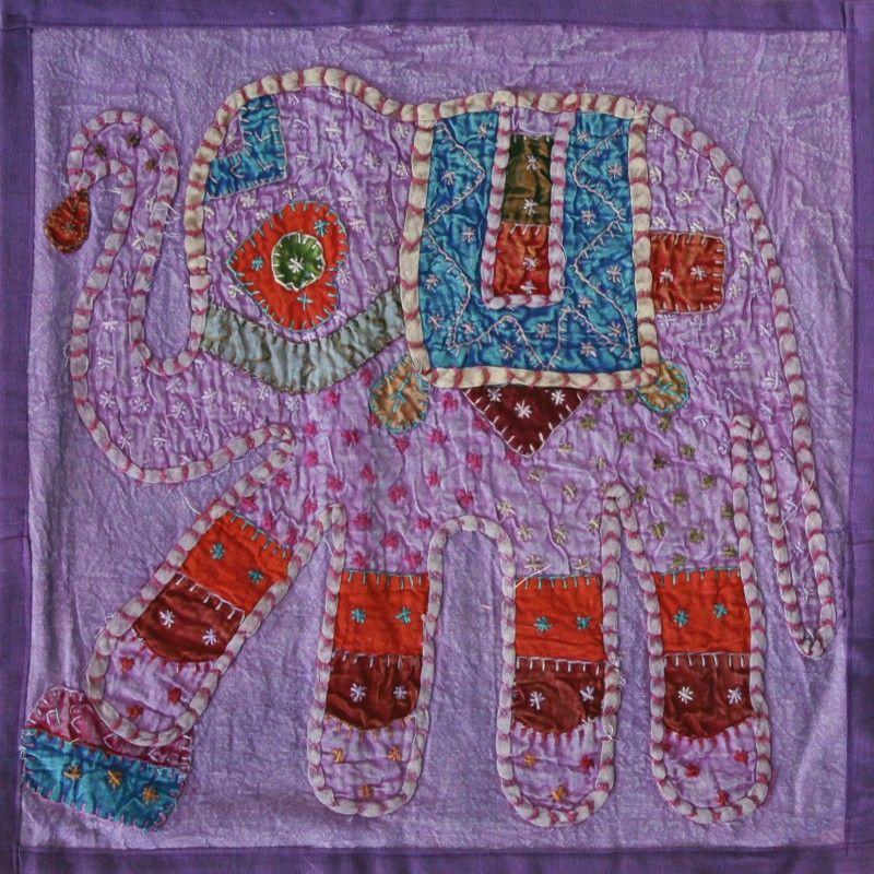 Housse de coussin en coton violet avec patchwork l phant - Housse de coussin violet ...