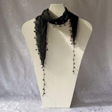 Foulard bandeau en coton noir
