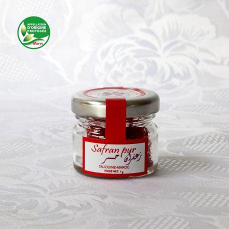 Safran pur, pistils en pot de 1 gramme, AOP safran de Taliouine