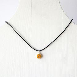 Pendentif oeil Turc orange 1 cm avec cordon noir
