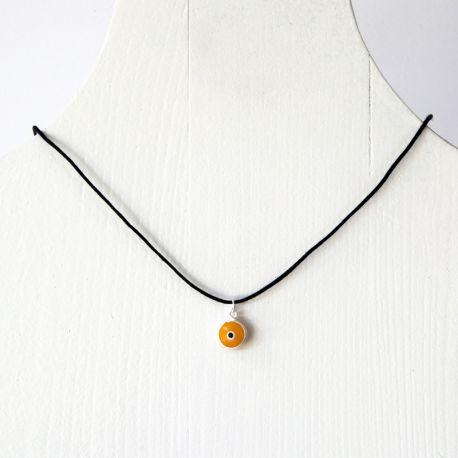 Pendentif oeil Turc jaune 1 cm avec cordon noir