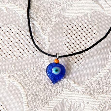 Pendentif oeil Turc forme goutte d'eau 1 cm avec perle orange