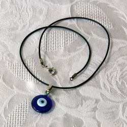 Oeil Turc, pendentif avec cordon - perle bleue