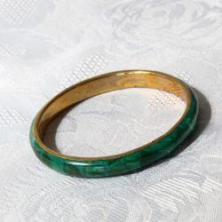 Bracelet Malachite naturelle et laiton