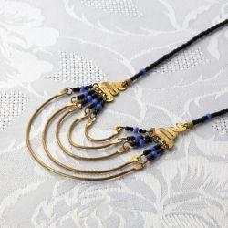 Collier plastron cuivre et perles