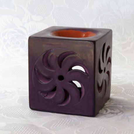 Photophore tadelakt violet, diffuseur parfum et huile essentielle, vue de face