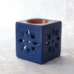 Photophore tadelakt bleu, diffuseur parfum et huile essentielle, vue de face