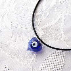 Collier oeil Turc forme coeur 2 cm