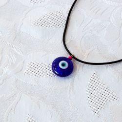 Oeil Turc, pendentif avec cordon - perle fushia