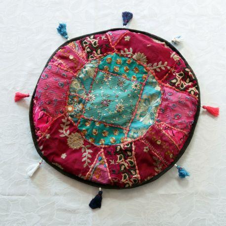 Pouf tissu indien patchwork rose et bleu