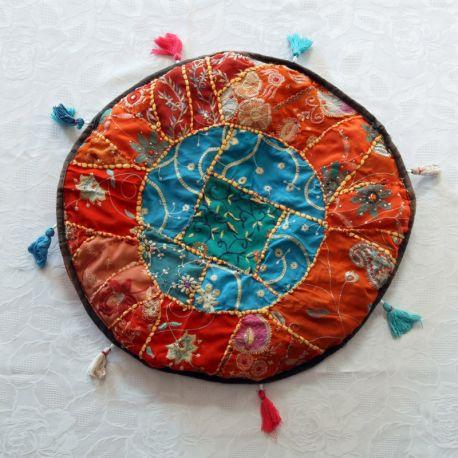 Pouf tissu indien patchwork orange et bleu