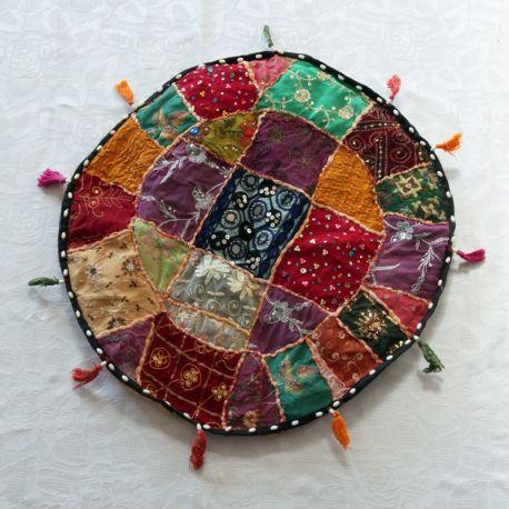 Pouf bas tissu indien patchwork