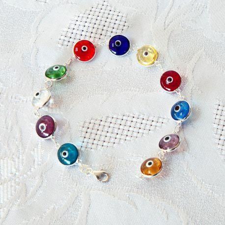Bracelet perles multicolores, oeil Nazar Boncuk