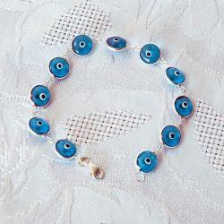 Bracelet perles bleues, oeil Nazar Boncuk