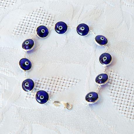 Bracelet perles bleu nuit, oeil Nazar Boncuk