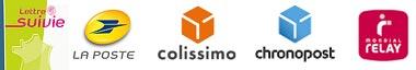 Transport assurés par la Poste, lettre suivie et Colissimo, par Chronopost et Mondial Relay pour une livraison en point relais